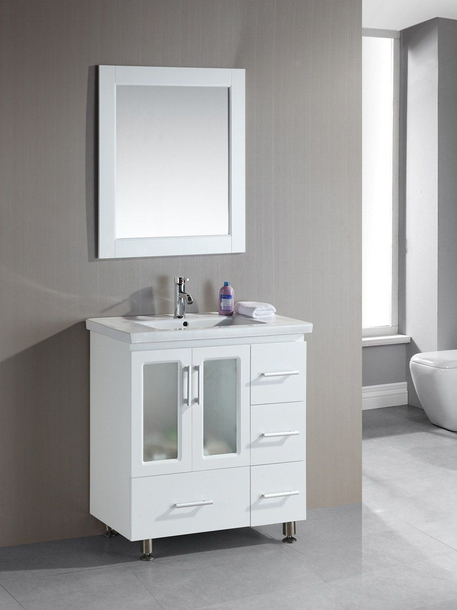 "Dresser Bathroom Vanity  36"" Stanton Single Bath Vanity White"