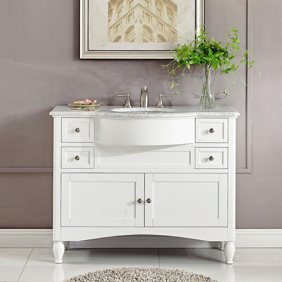"Dresser Bathroom Vanity  45"" Modern Single Bathroom Vanity White"