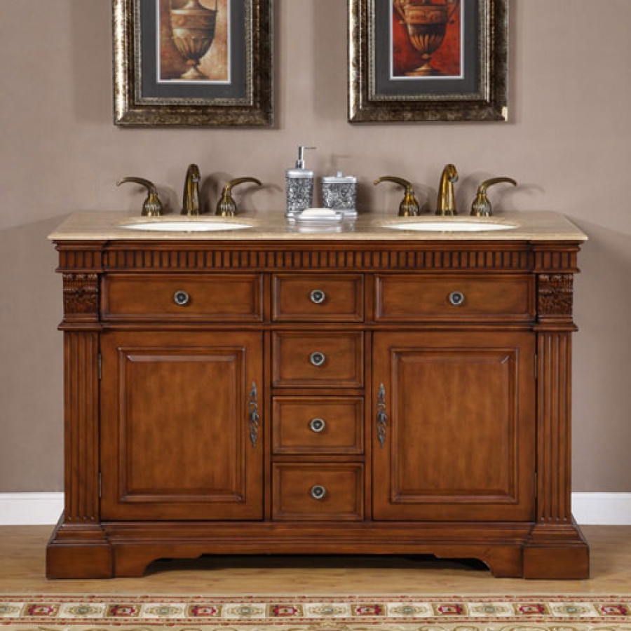 Dresser Bathroom Vanity  55 Inch Furniture Style Double Sink Bathroom Vanity