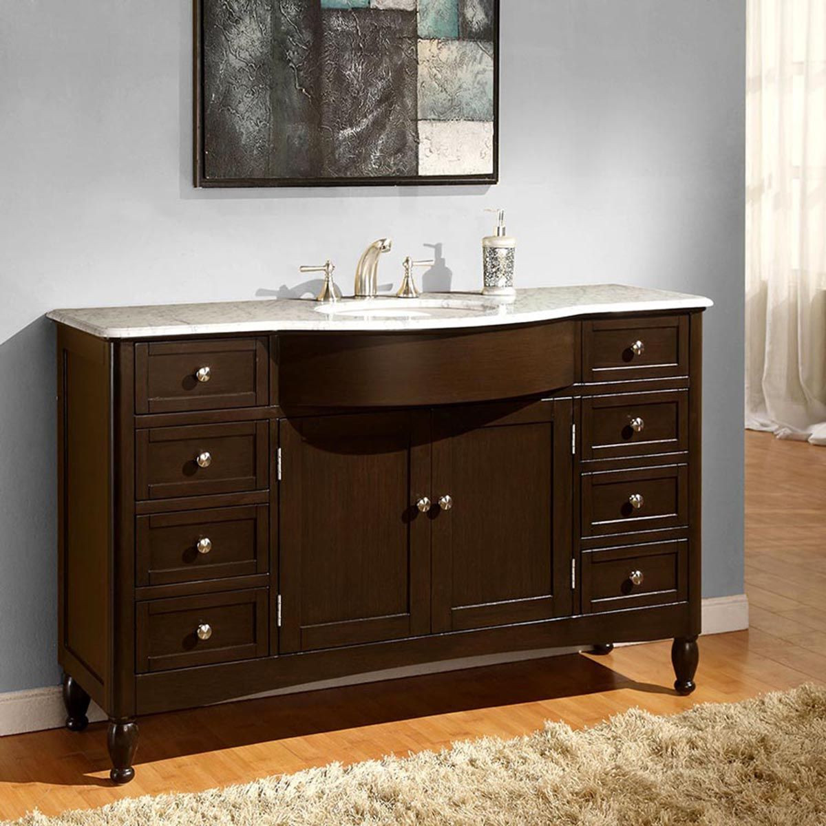 "Dresser Bathroom Vanity  58"" Modern Single Bathroom Vanity Espresso"