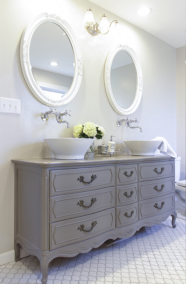 Dresser Bathroom Vanity  Stunning Bathroom Tour Dresser into Double Vanity