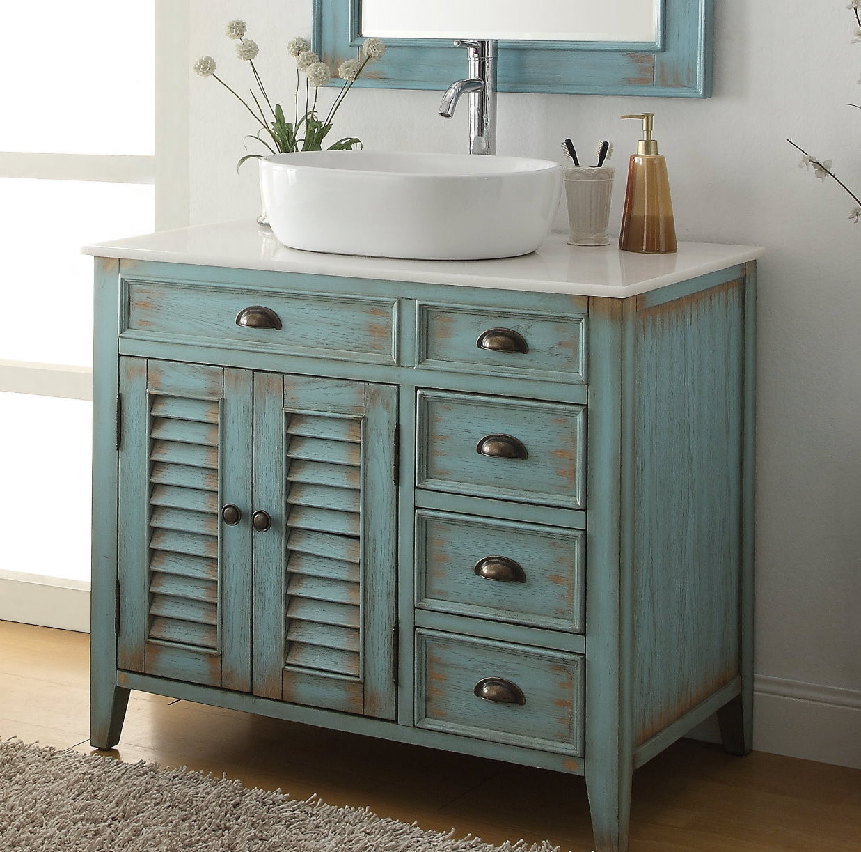 "Dresser Bathroom Vanity  36"" inch Bathroom Vanity Coastal Beach Style White Vessel"