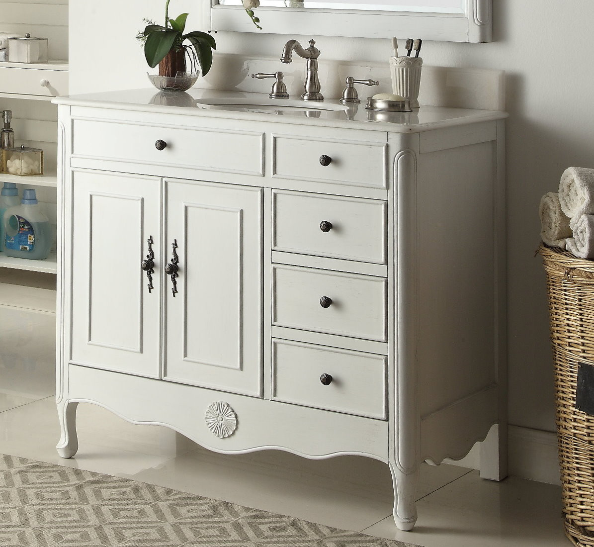 Dresser Bathroom Vanity  38 inch Bathroom Vanity Cottage Style Distressed Antique