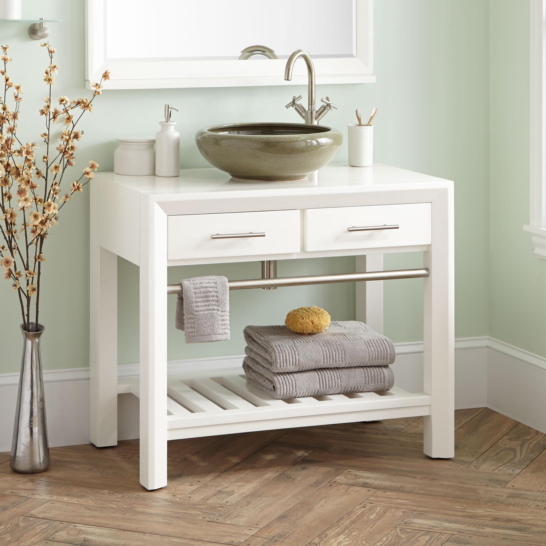 """Dresser Bathroom Vanity  36"""" Verlyn Mahogany Vessel Sink Vanity White Vessel"""