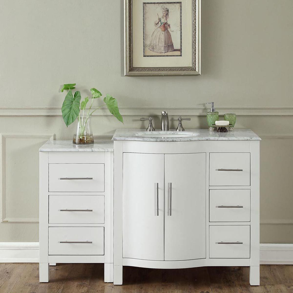 "Dresser Bathroom Vanity  54"" Modern Single Bathroom Vanity Espresso with Round Sink"