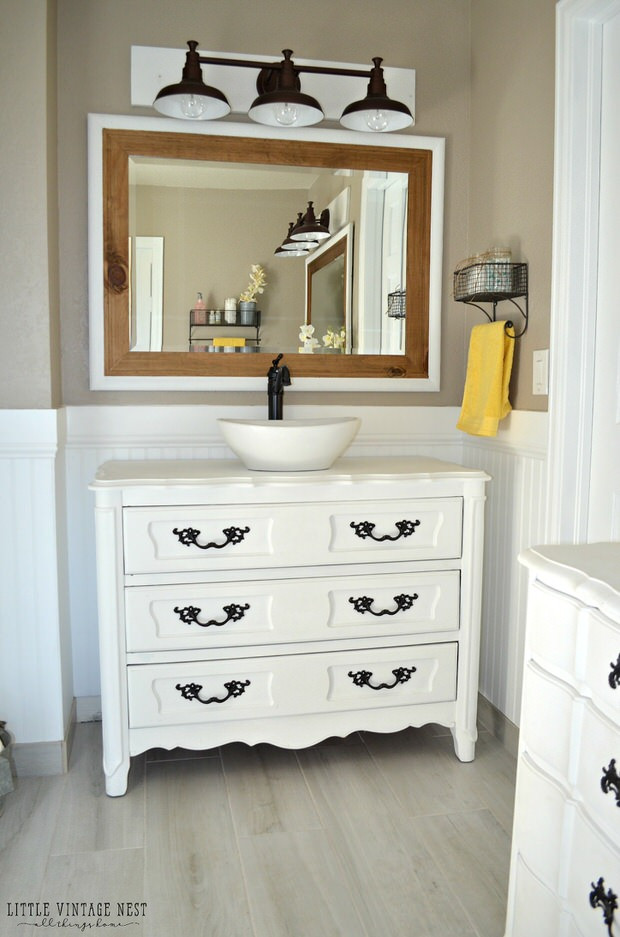 Dresser Bathroom Vanity  Creative DIY Bathroom Vanity Projects • The Bud Decorator