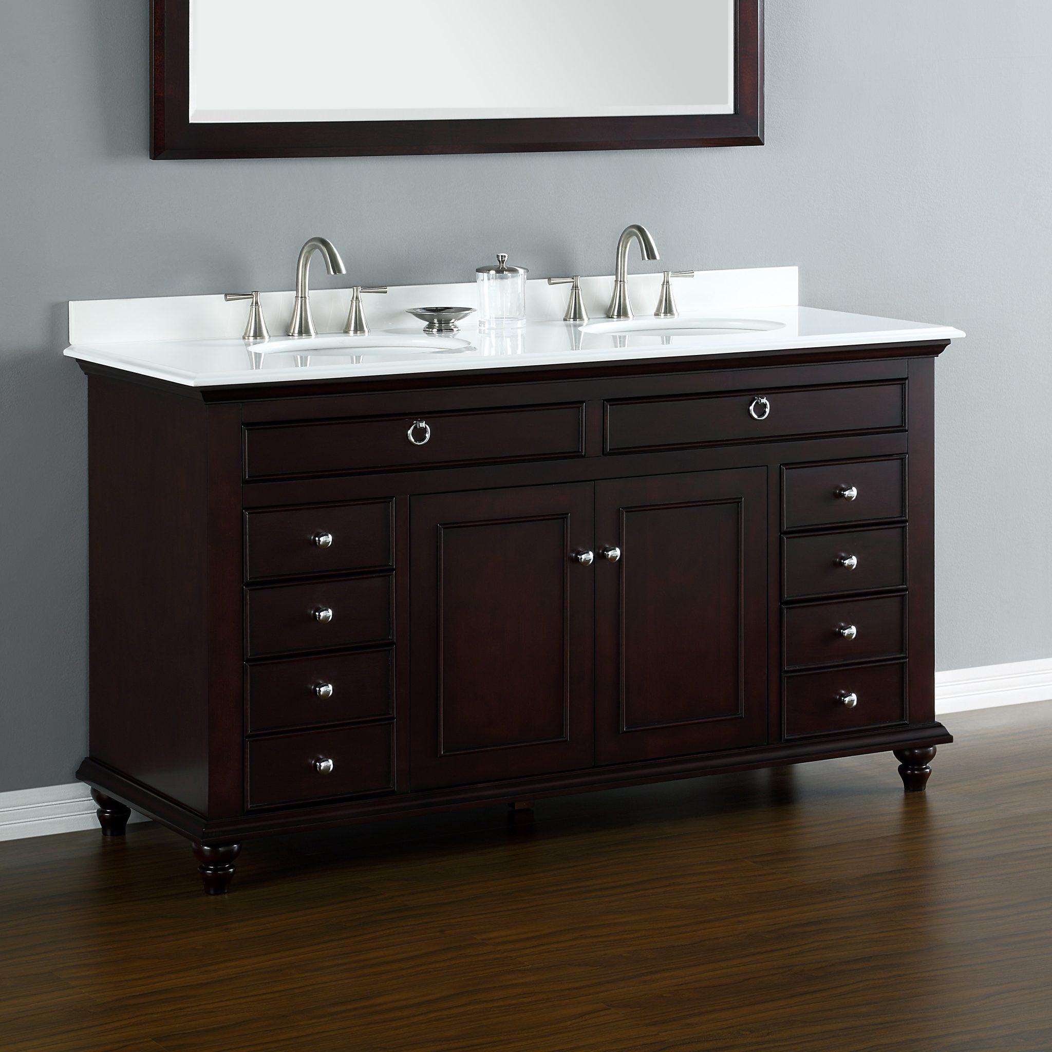 "Dresser Bathroom Vanity  Mayfield 60"" Double Sink Vanity"