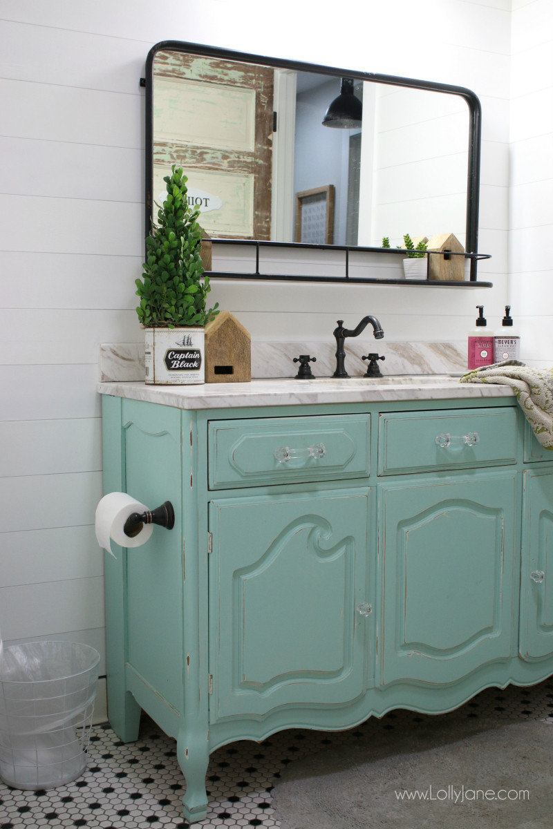 Dresser Bathroom Vanity  vintage dresser to bathroom vanity Lolly Jane