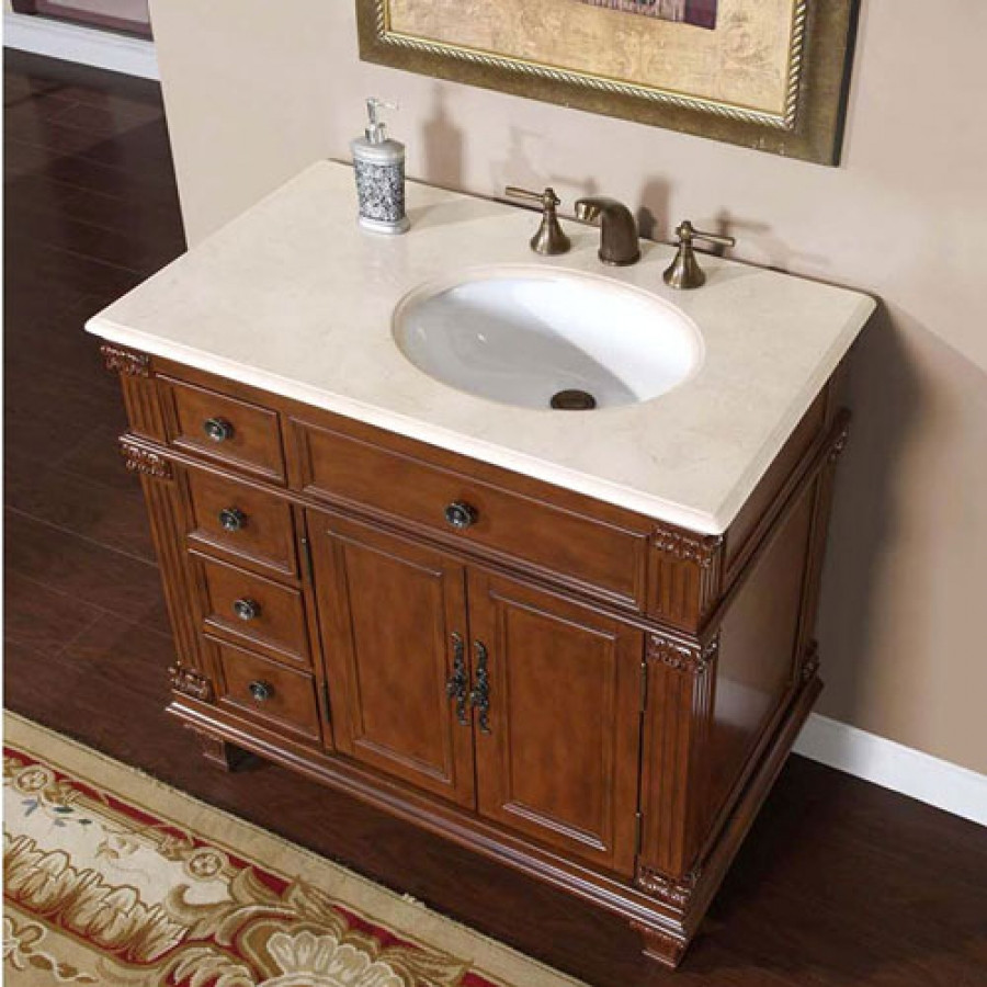 Dresser Bathroom Vanity  36 Inch Single Sink Bathroom Vanity with Cream Marfil