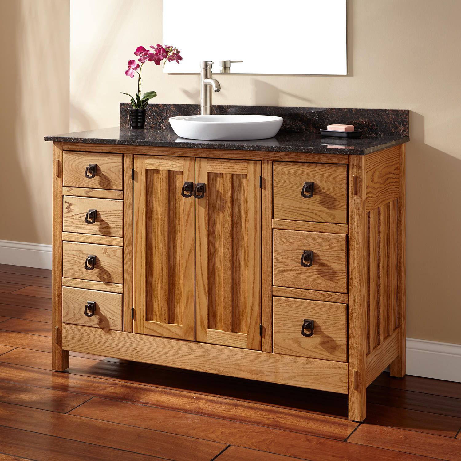 "Dresser Bathroom Vanity  48"" Mission Hardwood 7 Drawer Vanity for Semi Recessed Sink"