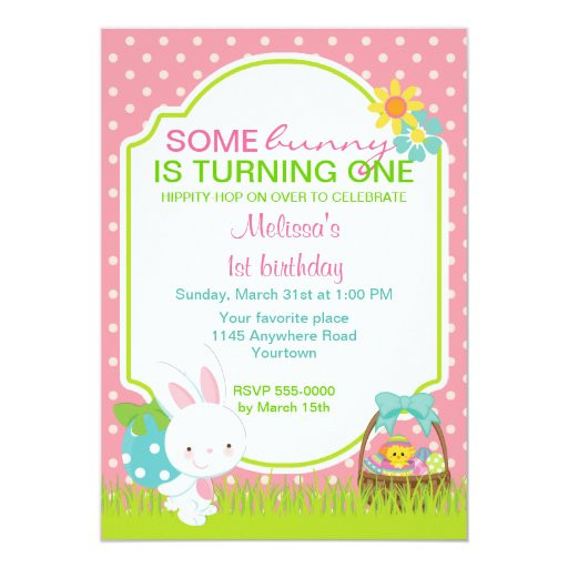 Easter Birthday Invitations  Easter Bunny with Basket Birthday Invitation
