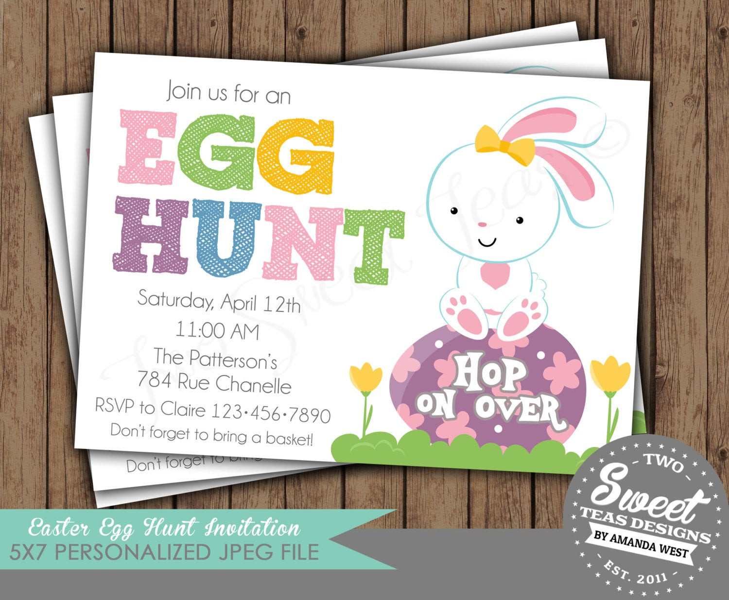 Easter Birthday Invitations  Easter Egg Hunt Invitation Birthday Spring Party by 2SweetTeas