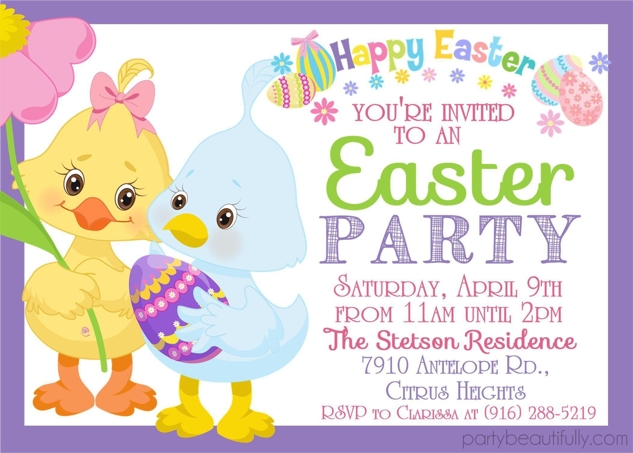Easter Birthday Invitations  Easter Party Invitations – Party Beautifully