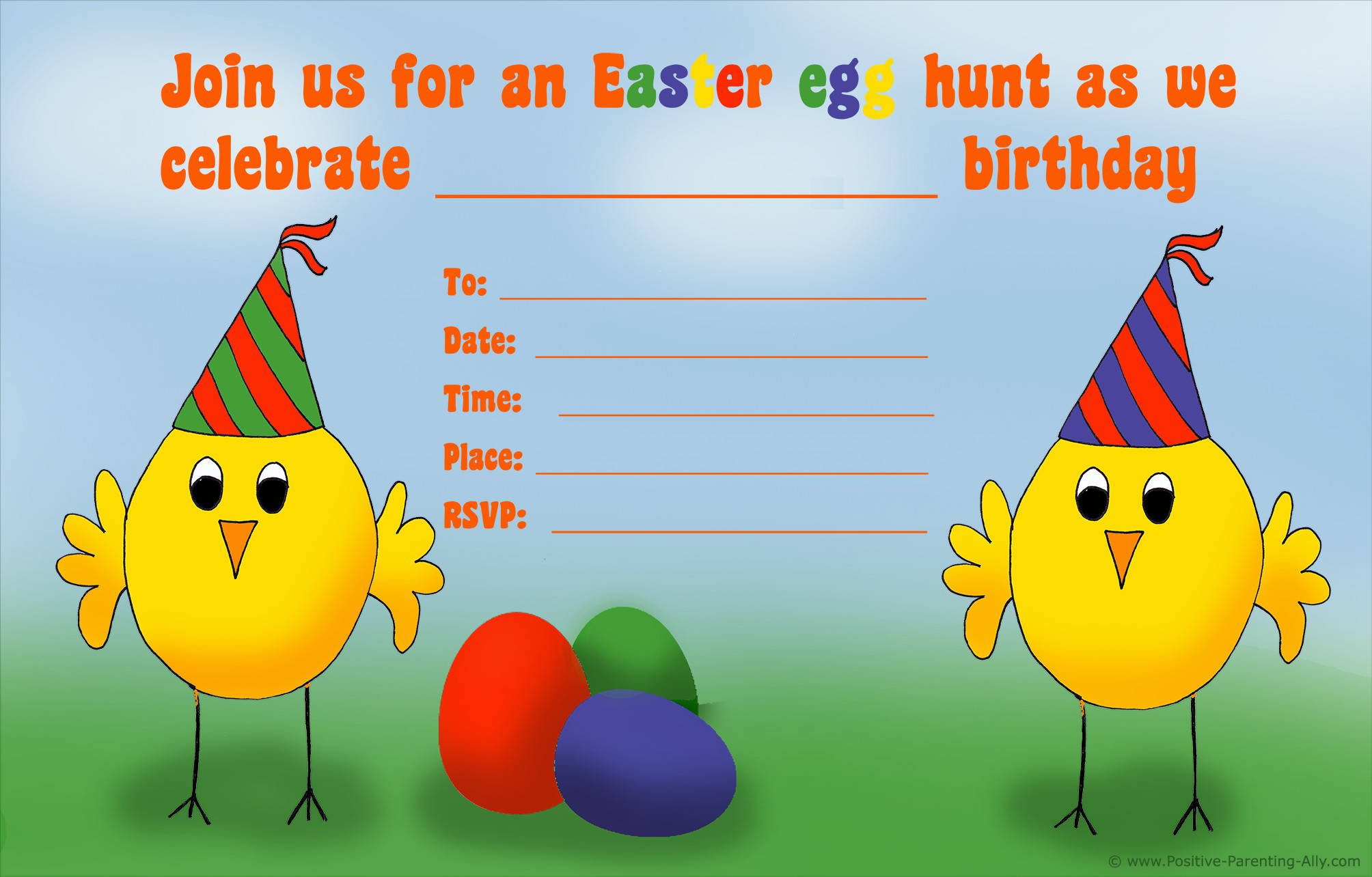 Easter Birthday Invitations  Free Printable Birthday Party Invitations for Kids High