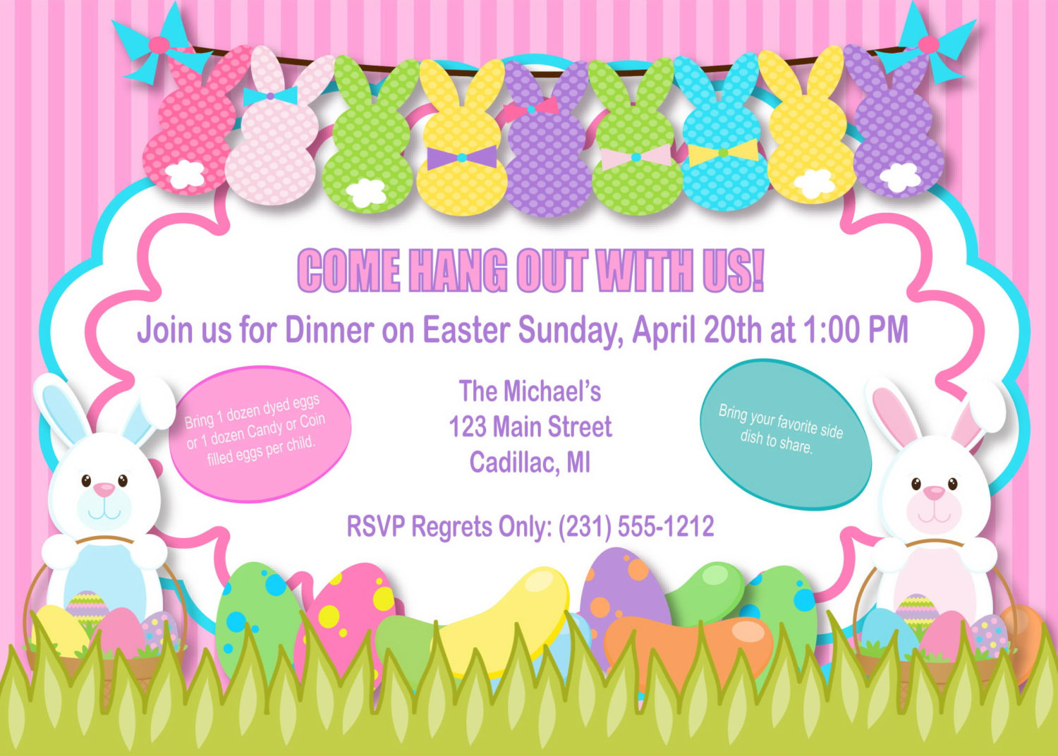 Easter Birthday Invitations  Bunnies Easter Invitation Bunnies Easter Party Invitation