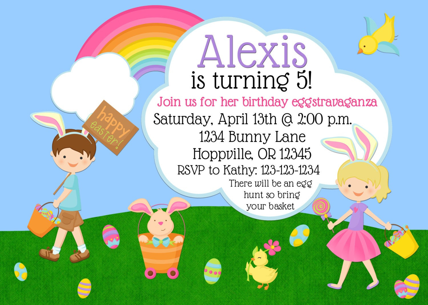 Easter Birthday Invitations  Easter Birthday Party Invitation Print Your Own 5x7 or 4x6