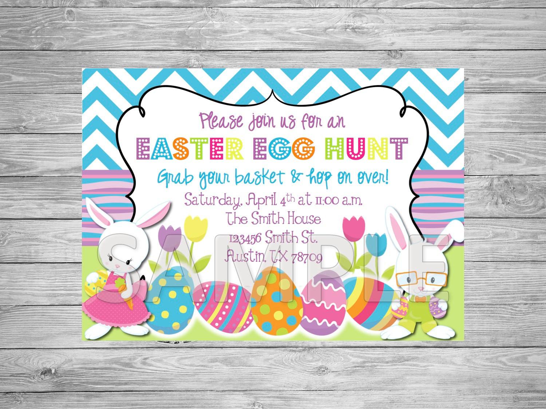 Easter Birthday Invitations  Easter Egg Hunt Invitation Easter Party Invitation Easter