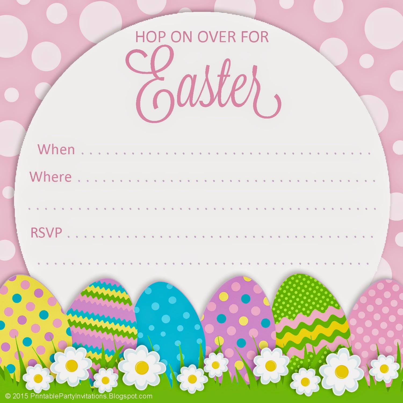 Easter Birthday Invitations  Free Printable Party Invitations Polka Dot Easter Invitation