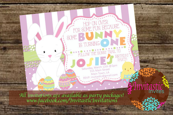 Easter Birthday Invitations  Easter Birthday Invitation Easter Some Bunny Themed Birthday
