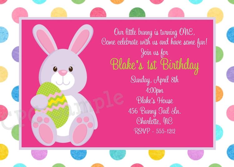 Easter Birthday Invitations  Easter Birthday Invitation in Pastel Polka Dots