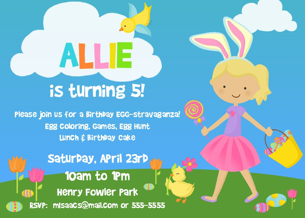 Easter Birthday Invitations  Easter Birthday Invitations Ideas – Bagvania FREE