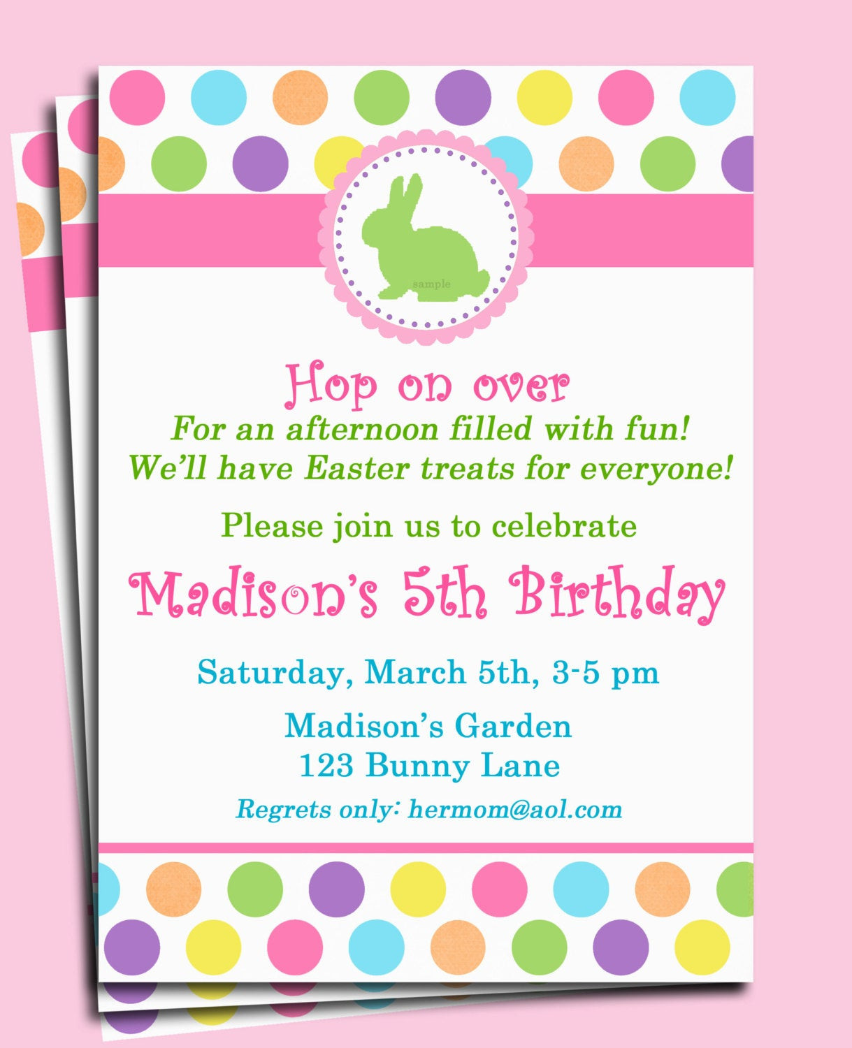 Easter Birthday Invitations  Easter Bunny Invitation Printable or Printed by ThatPartyChick