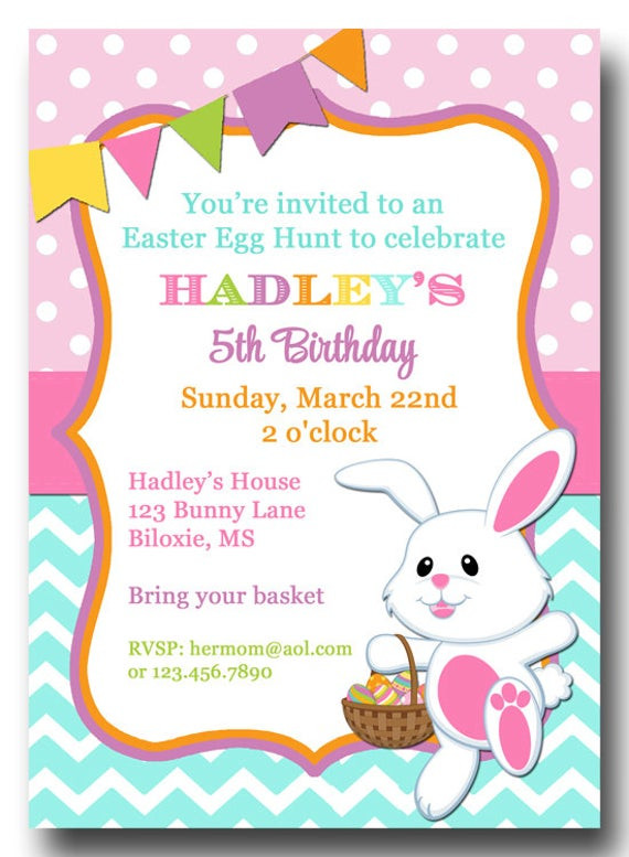 Easter Birthday Invitations  Easter Chevron Polka Dot Invitation Printable or Printed with