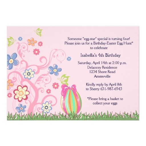 "Easter Birthday Invitations  Easter Birthday Party Invitation 5"" X 7"" Invitation Card"