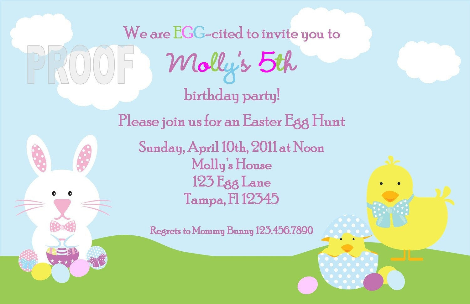 Easter Birthday Invitations  Easter Egg Hunt or Birthday Party Custom Invitation