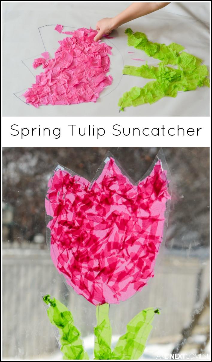 Easy Spring Crafts For Toddlers  Tulip Suncatcher Spring Craft