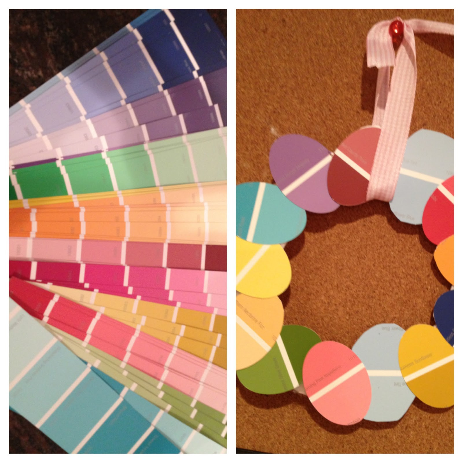 Easy Spring Crafts For Toddlers  Two It Yourself Easter Egg Wreath from Paint Sample Swatches