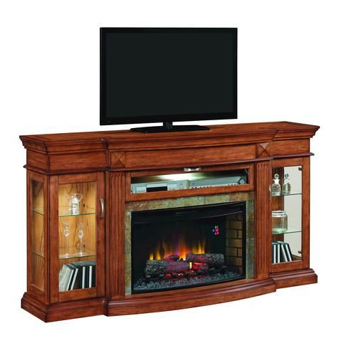 Electric Fireplace Tv Stand Menards  Hawesville Curio Electric Media Fireplace at Menards