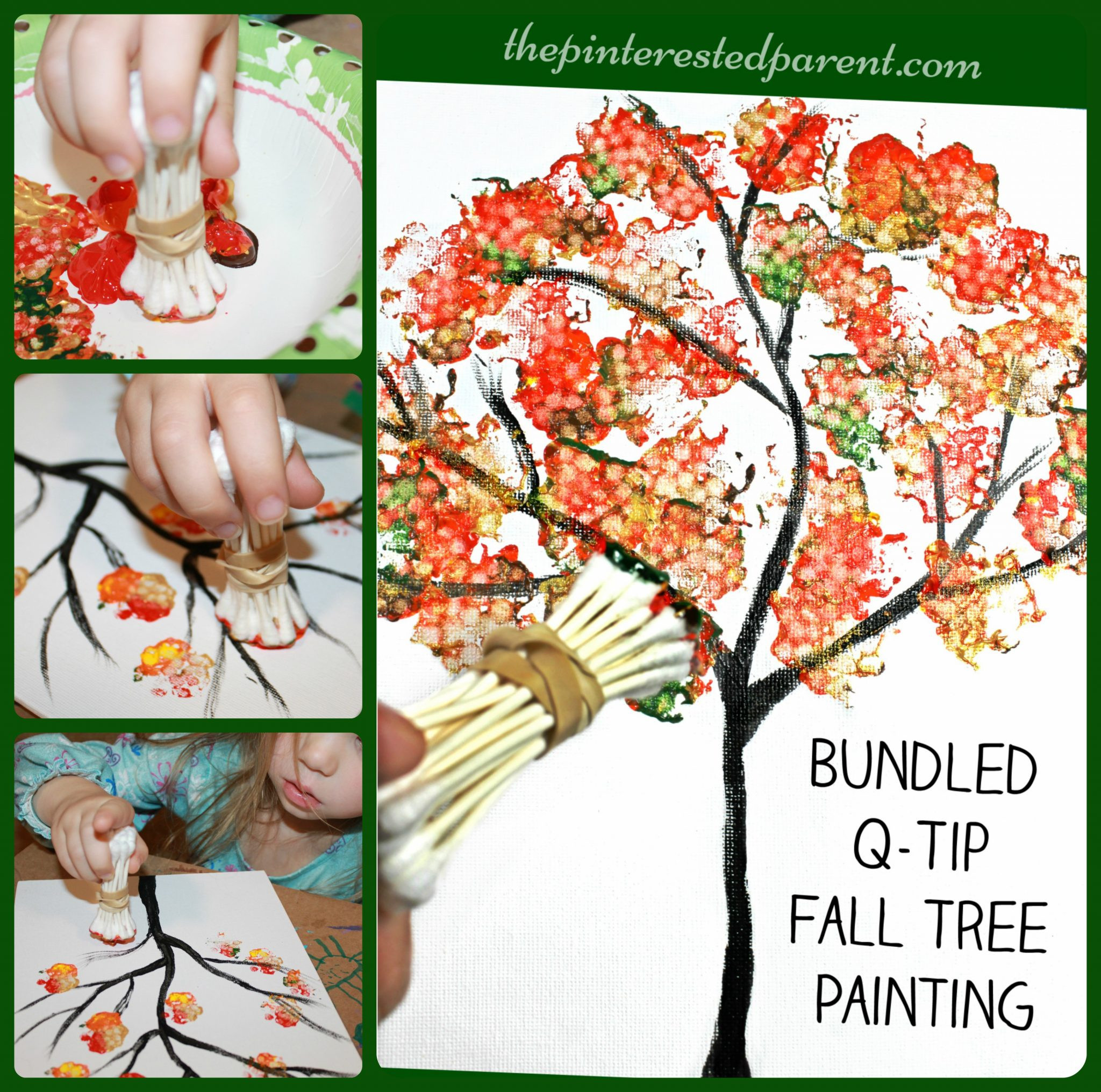 Fall Art Projects For Kids  Bundled Q Tip Autumn Tree