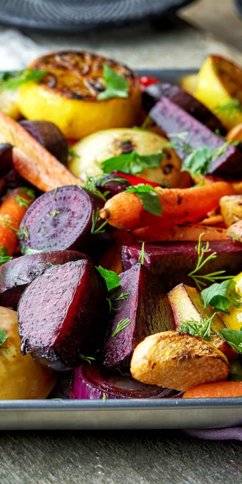 Fall Roasted Vegetables  Roasted Fall Ve ables with Maple Thyme and Apple 31 Daily