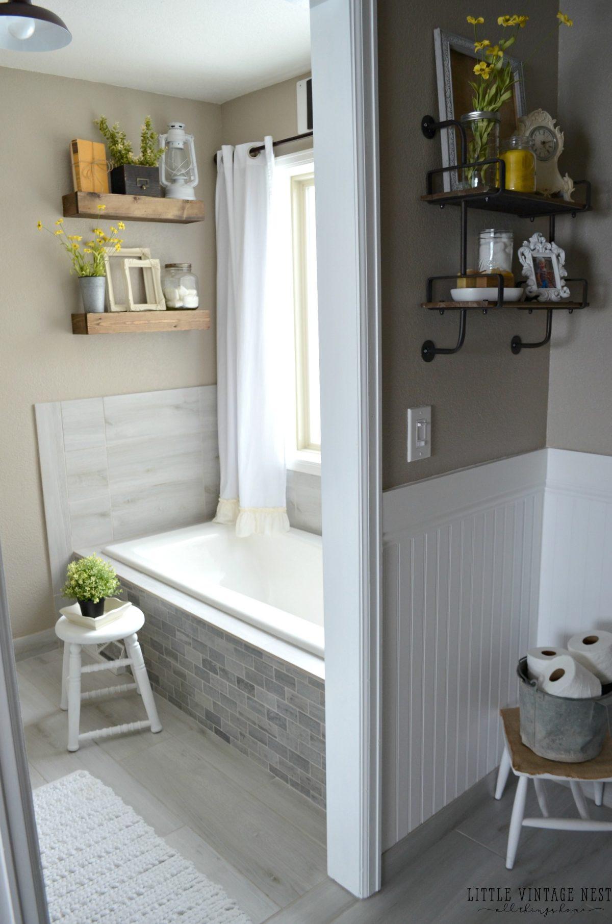 Farmhouse Master Bathroom  Farmhouse Master Bathroom Reveal Little Vintage Nest