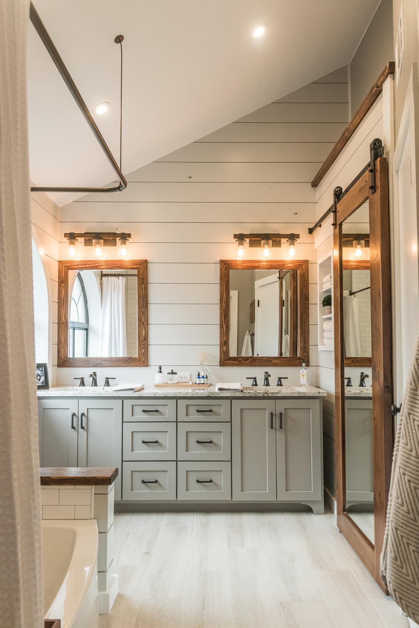 Farmhouse Master Bathroom  Modern Farmhouse Bathroom Inspiration • Jillian Lare Des