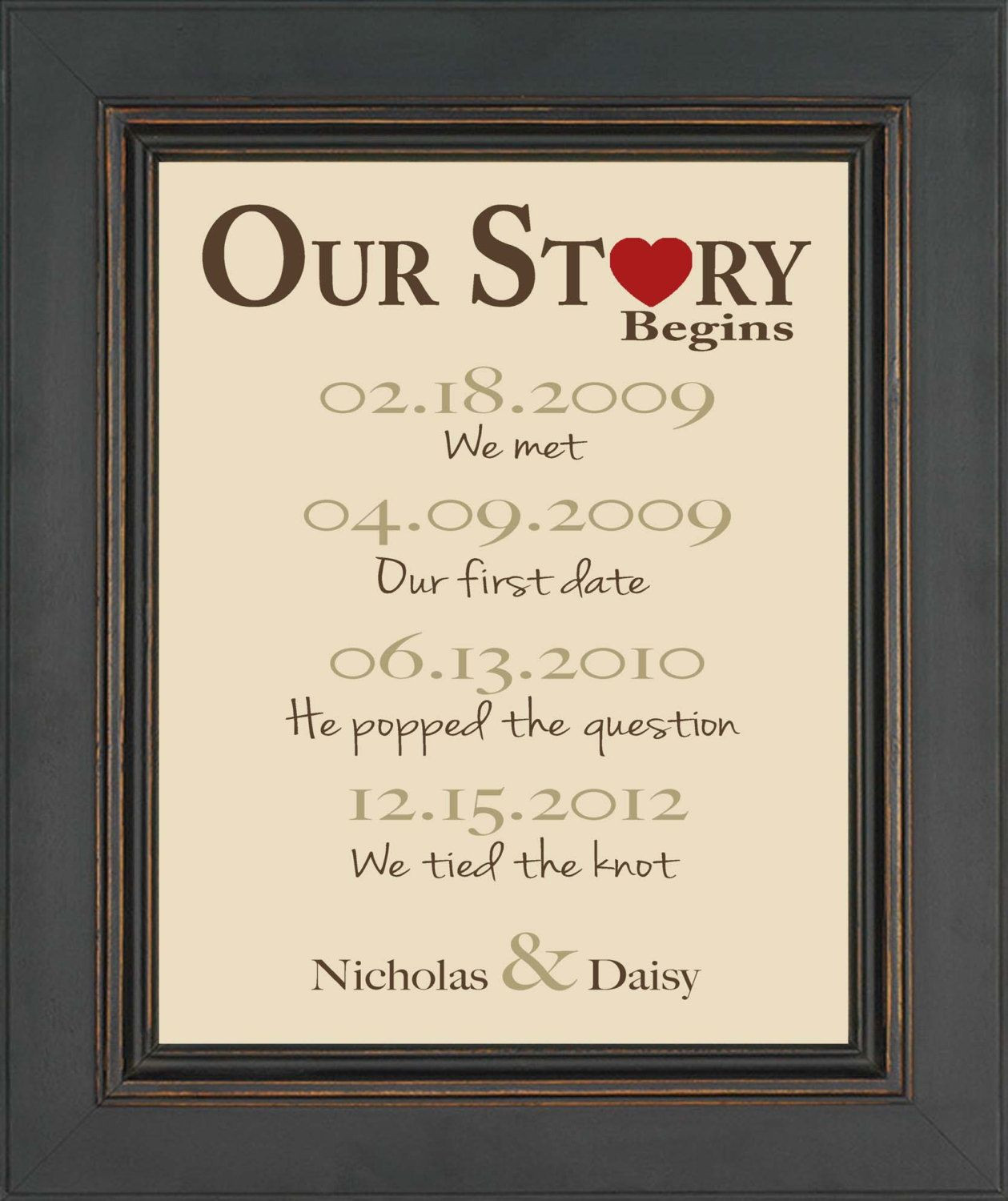 First Anniversary Gift Ideas For Couple From Parents  Valentine s Day Gift First Anniversary Gift by
