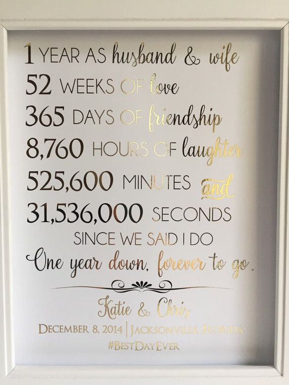 First Anniversary Gift Ideas For Couple From Parents  First 1st Anniversary Gift Anniversary Gift For