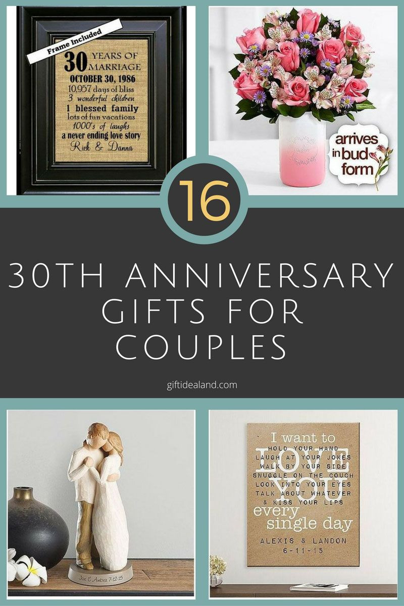 First Anniversary Gift Ideas For Couple From Parents  30 Good 30th Wedding Anniversary Gift Ideas For Him & Her