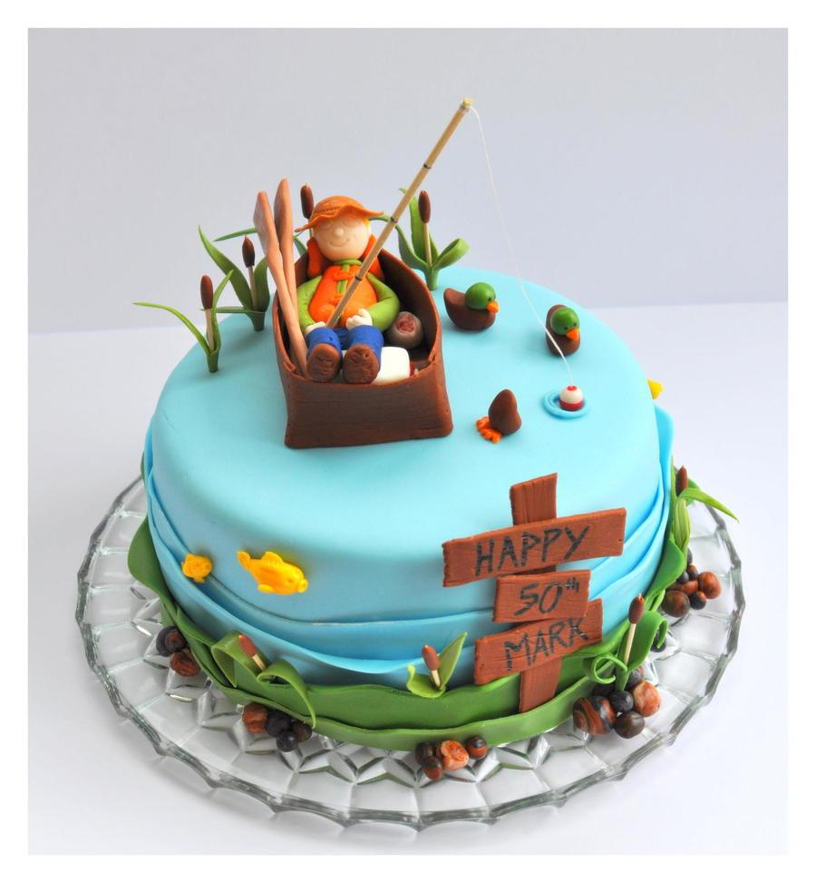 Fishing Birthday Cakes  Fishing Cake With Fisherman Fish Ducks Cattails