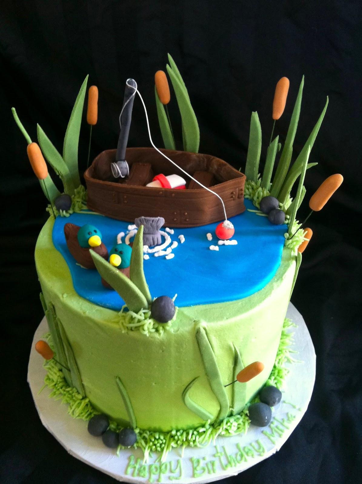 Fishing Birthday Cakes  A Little Something Sweet Small Gone Fishing Cake