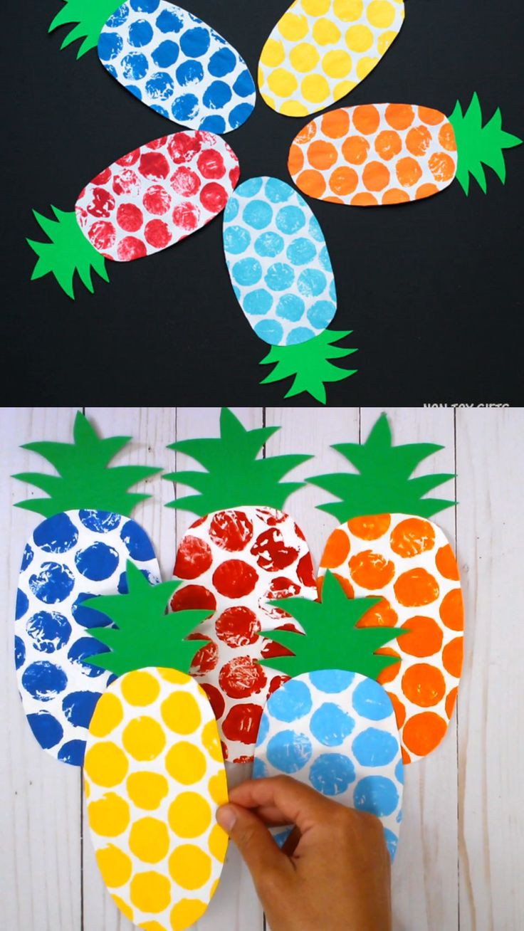 Fruit Crafts For Toddlers  Bubble Wrap Pineapple Craft Kids Pineapple Template