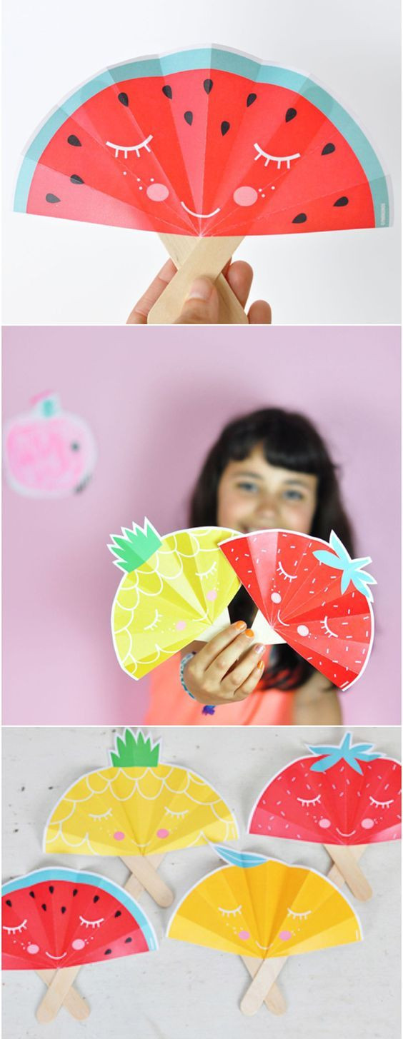 Fruit Crafts For Toddlers  Summer Fruit Paper Fans with Free Printable Adorable