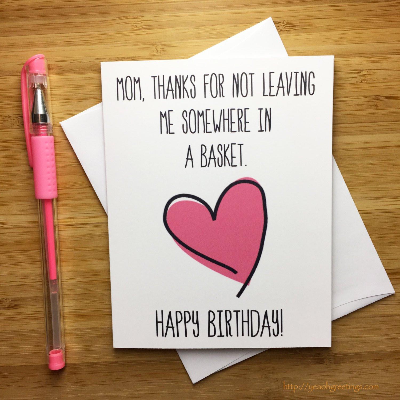 Funny Birthday Card For Mom  Happy Birthday Mom Birthday Card for Mom Mother Happy