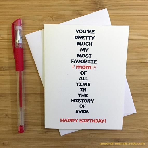 Funny Birthday Card For Mom  Happy Birthday Mom Card for Mom Funny Mom Card Cute Card