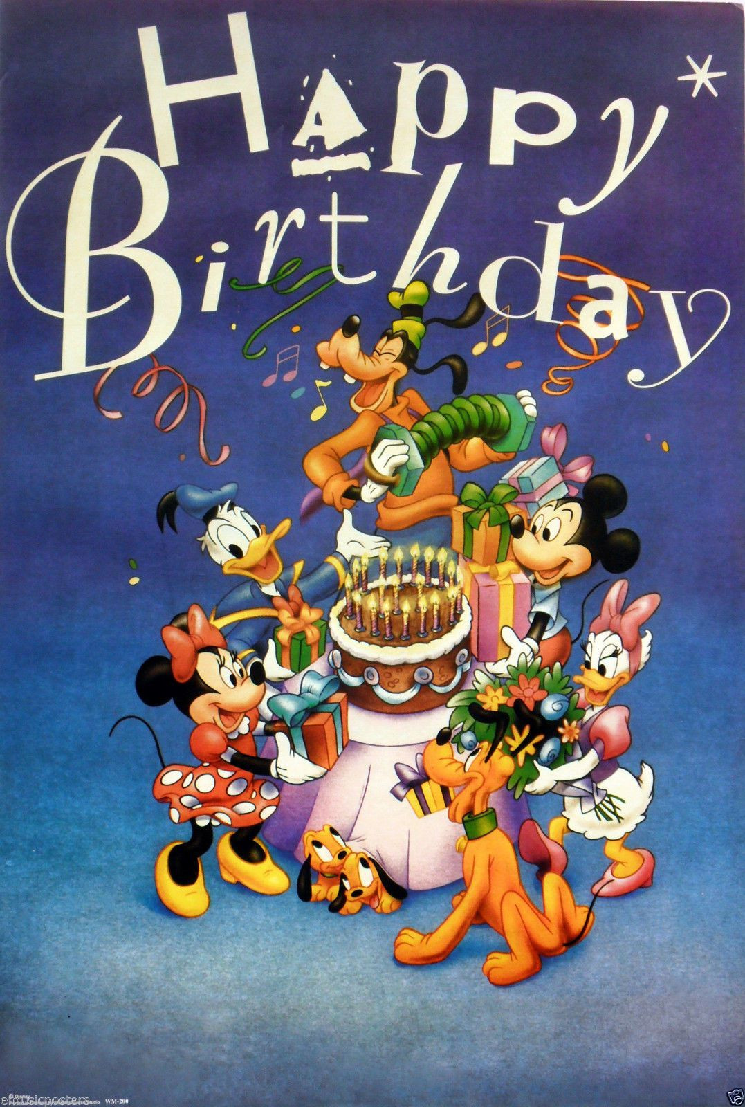 "Goofy Birthday Wishes  Disney ""Happy Birthday"" Poster Goofy Mickey Minnie Mouse"