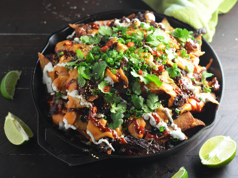 Gourmet Nachos Recipe  e Skillet Korean Nachos Will Shake Up Your Party Menu