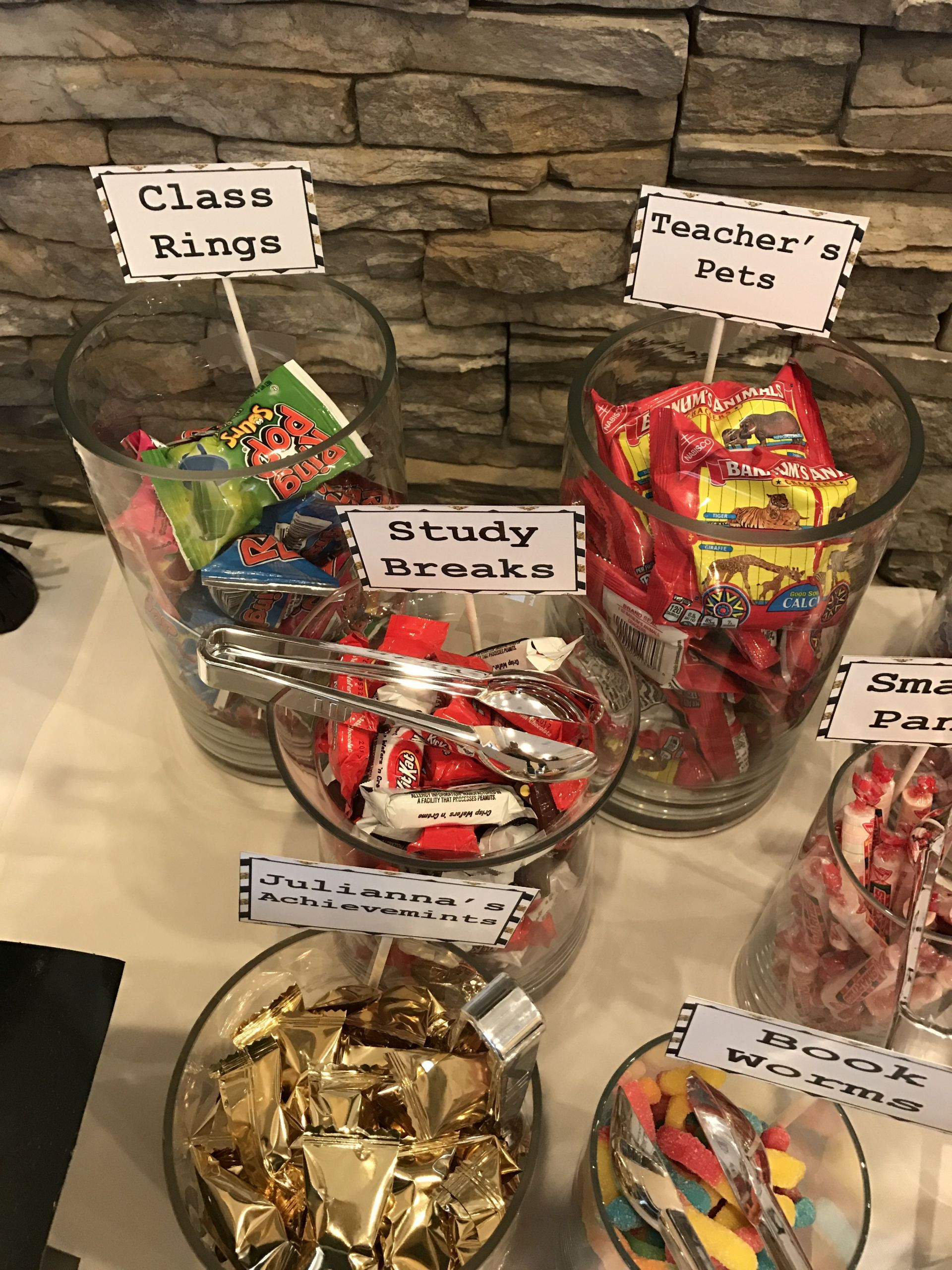 Graduation Party Candy Ideas  College graduation themed candy bar Party