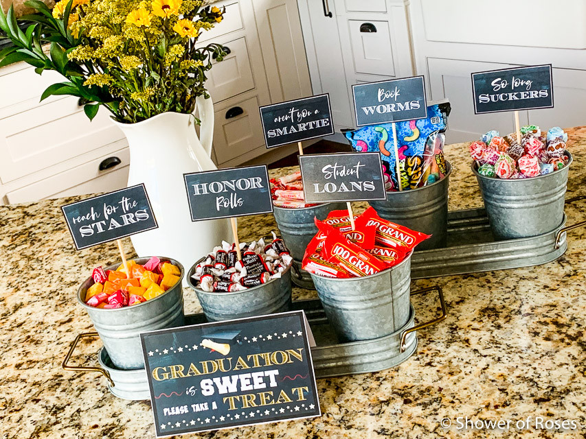 Graduation Party Candy Ideas  Shower of Roses Graduation Party Candy Buffet Free