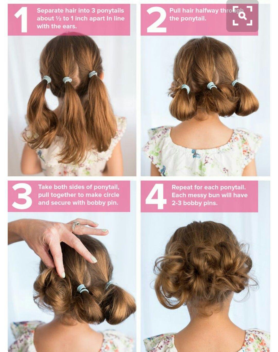Hairstyle For Little Girl Step By Step  Strange little buns Strange Flowers Pinterest